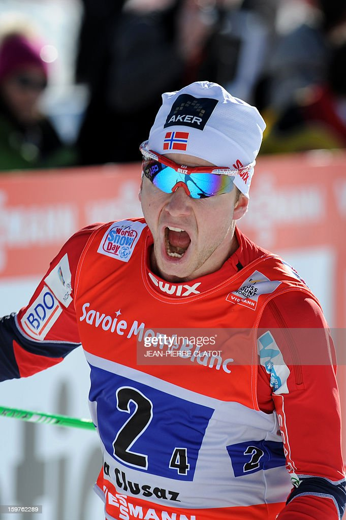 Norway's Sjur Roethe celebrates his victory as he crosses the finish line of the Nordic skiing combined World Cup relay (4 x 7,5 km) on January 20, 2013 in La Clusaz, eastern France.