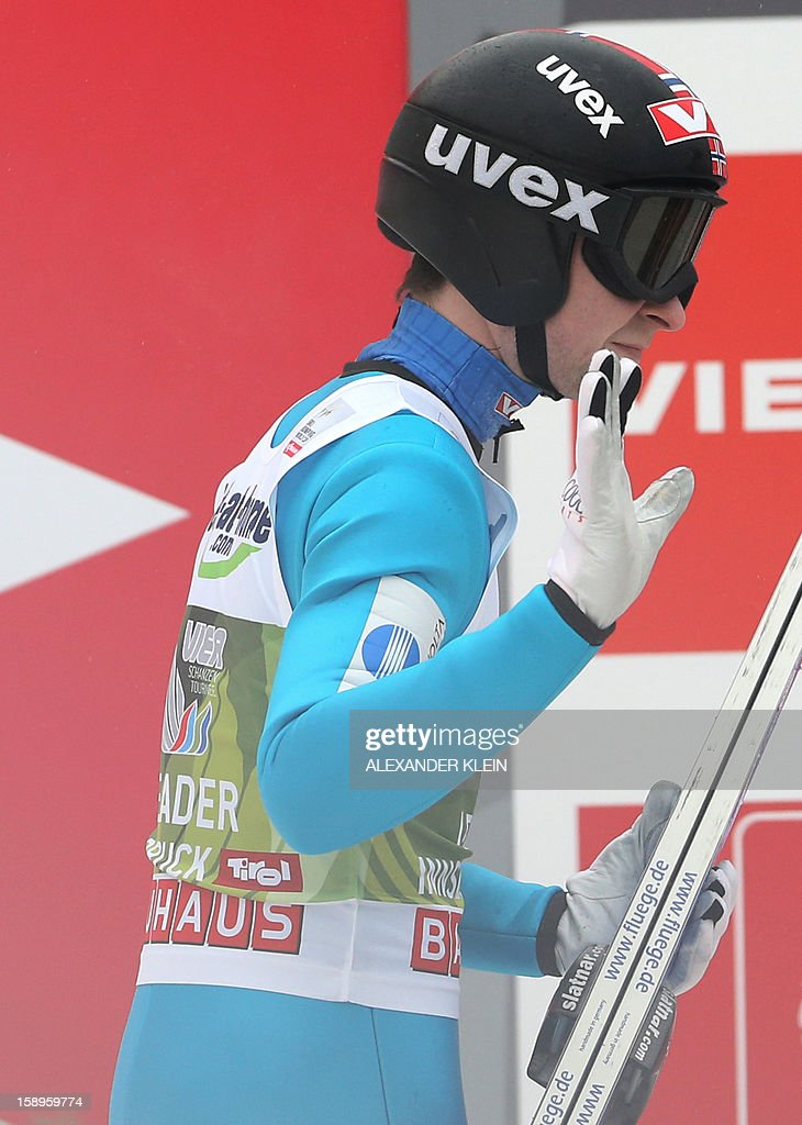 Norway's ski jumper Anders Jacobsen gestures during the 61st Four-Hills-Tournament (Vierschanzentournee) in Innsbruck, Austria on January 4, 2013. Austria's Schlierenzauer won ahead of Poland's Kamil Stoch and Norway's Anders Bardal. AFP PHOTO / ALEXANDER KLEIN