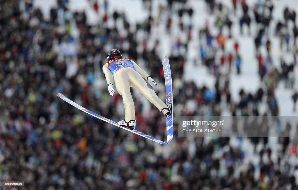 Norway's ski jumper Anders Jacobsen soars through the air during his qualification jump at the 61th edition of the Four-Hills-Tournament (Vierschanzentournee) on December 31, 2012 in Garmisch-Partenkirchen, southern Germany. The second competition of the jumping event will take place in Garmisch-Partenkirchen, before the tournament continues in Innsbruck (Austria) and in Bischofshofen (Austria).
