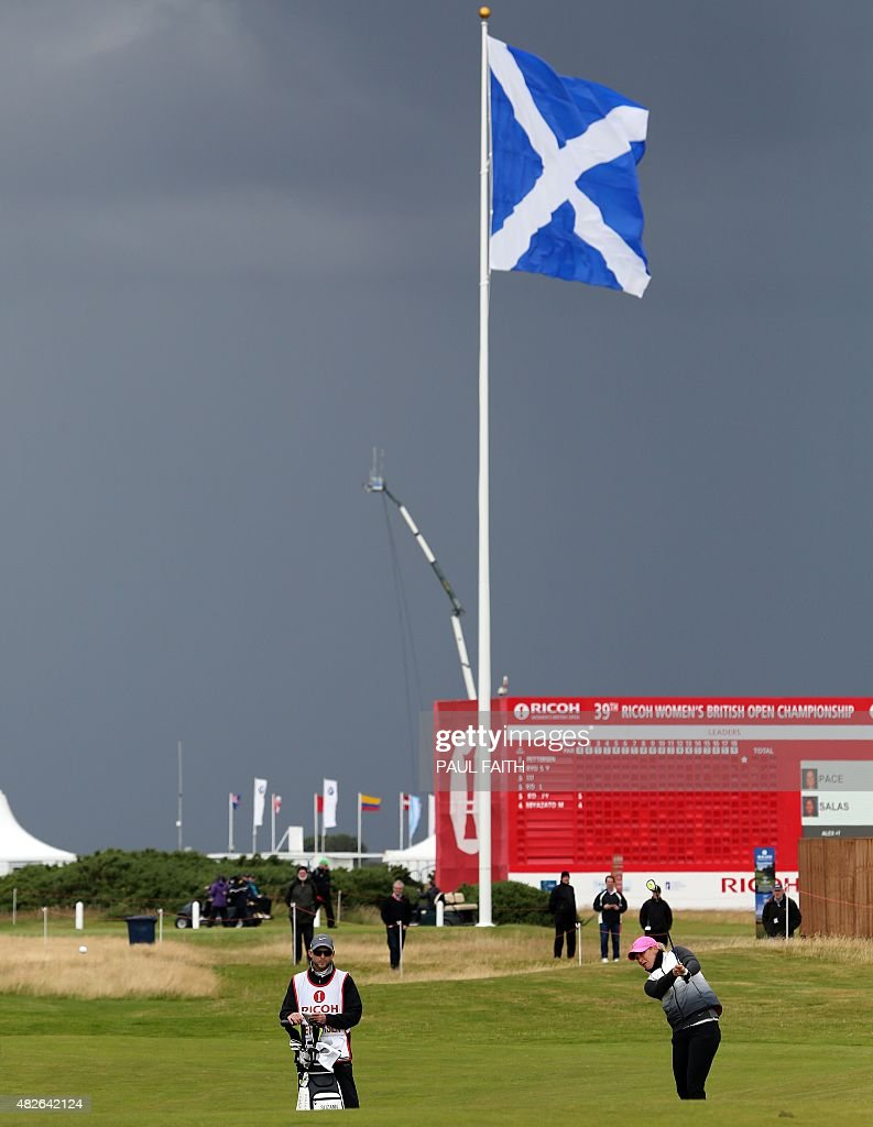Norway's Suzann Pettersen plays her approach shot from the 1st fairway during her third round on day three of the Women's British Open Golf...