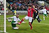 Norway´s Tarik Elyounoussi scoring 10 during the Euro 2016 Group H qualifying football match Norway vs Bulgaria in Oslo Norway on October 13 2014 AFP...
