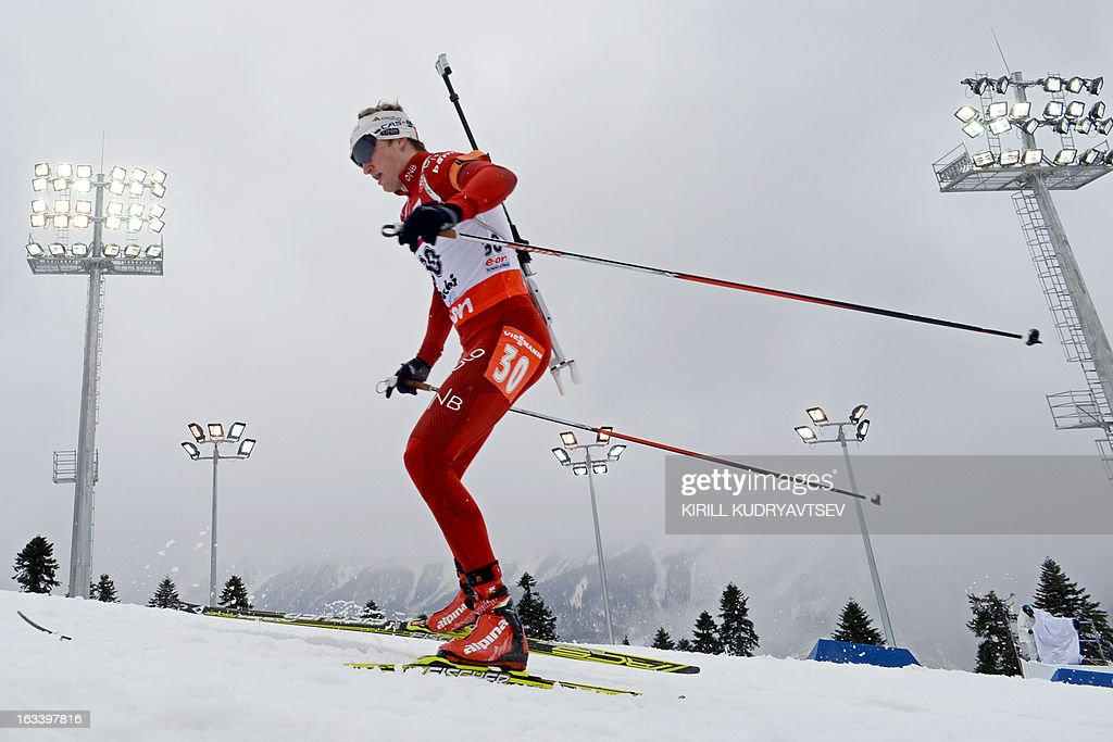 Norway's Tarjei Boe competes in the Men 7,5 km Sprint during IBU World Cup Biathlon at Laura Cross Country and Biathlon Center in Russian Black Sea resort of Sochi on March 9, 2013. France's Martin Fourcade took the first place ahead of Russia's Evgeny Ustyugov and Norway's Henrik L'Abee-Lund.