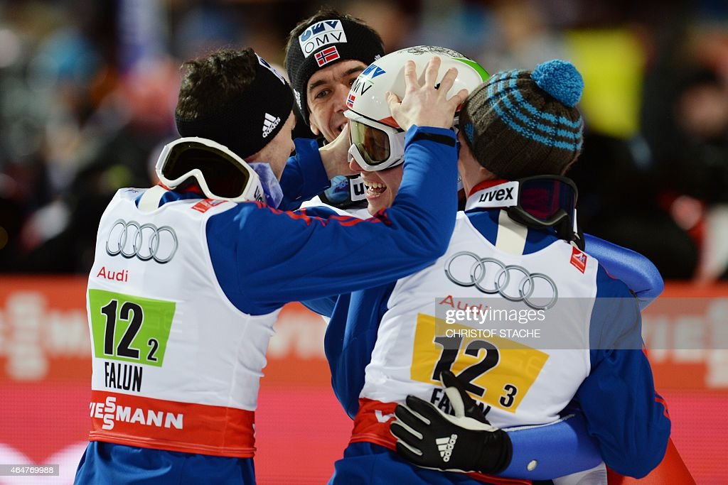 Norway's team (L to R) <a gi-track='captionPersonalityLinkClicked' href=/galleries/search?phrase=Anders+Jacobsen+-+Ski+Jumper&family=editorial&specificpeople=12186216 ng-click='$event.stopPropagation()'>Anders Jacobsen</a>, <a gi-track='captionPersonalityLinkClicked' href=/galleries/search?phrase=Anders+Bardal&family=editorial&specificpeople=2146620 ng-click='$event.stopPropagation()'>Anders Bardal</a>, <a gi-track='captionPersonalityLinkClicked' href=/galleries/search?phrase=Rune+Velta&family=editorial&specificpeople=6845746 ng-click='$event.stopPropagation()'>Rune Velta</a> and Anders Fannemel celebrate after competing at the Men Large Hill Team competition of the 2015 FIS Nordic World Ski Championships in Falun, Sweden, on February 28, 2015. Norway's team won ahead of Austria and Poland. AFP PHOTO / CHRISTOF STACHE