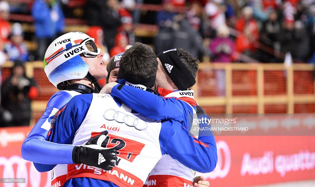 Norway's team (L to R)<a gi-track='captionPersonalityLinkClicked' href=/galleries/search?phrase=Rune+Velta&family=editorial&specificpeople=6845746 ng-click='$event.stopPropagation()'>Rune Velta</a>, <a gi-track='captionPersonalityLinkClicked' href=/galleries/search?phrase=Anders+Bardal&family=editorial&specificpeople=2146620 ng-click='$event.stopPropagation()'>Anders Bardal</a>, <a gi-track='captionPersonalityLinkClicked' href=/galleries/search?phrase=Anders+Jacobsen+-+Ski+Jumper&family=editorial&specificpeople=12186216 ng-click='$event.stopPropagation()'>Anders Jacobsen</a> and Anders Fannemel celebrate after competing at the Men Large Hill Team competition of the 2015 FIS Nordic World Ski Championships in Falun, Sweden, on February 28, 2015. Norway's team won ahead of Austria and Poland. AFP PHOTO / JONATHAN NACKSTRAND