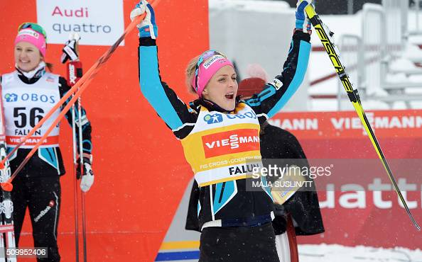 Norway's Therese Johaug celebrates winning the women's 5 km competition at the FIS CrossCountry World Cup in Falun Sweden February 13 2016 / AFP / TT...