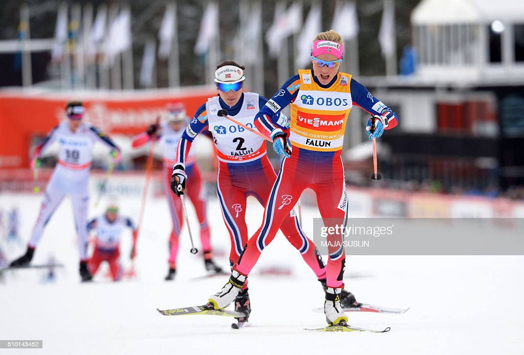 Norway's Therese Johaug is chased by her compatriot Heidi Weng during the women's 10 km mass start competition at the FIS Cross-Country World Cup in Falun, Sweden, February 14, 2016. / AFP / TT News Agency / Maja SUSLIN / Sweden OUT