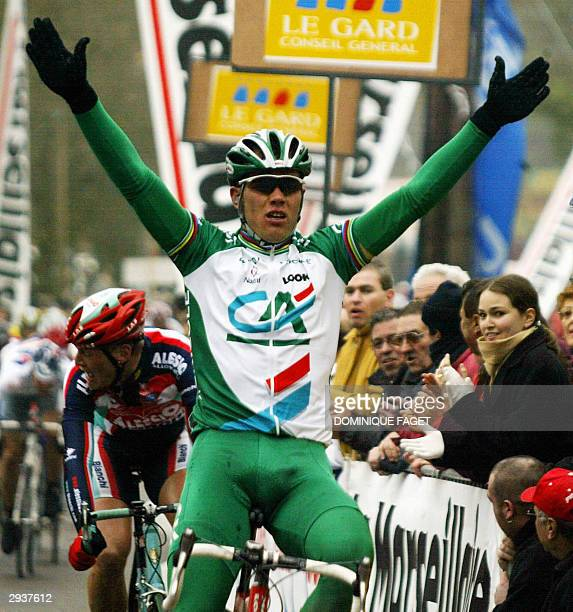 Norway's Thor Hushovd crosses the finish line at the end of the 3rd stage of the Etoile de Besseges cycling race 06 February 2004 at Les Fumades AFP...