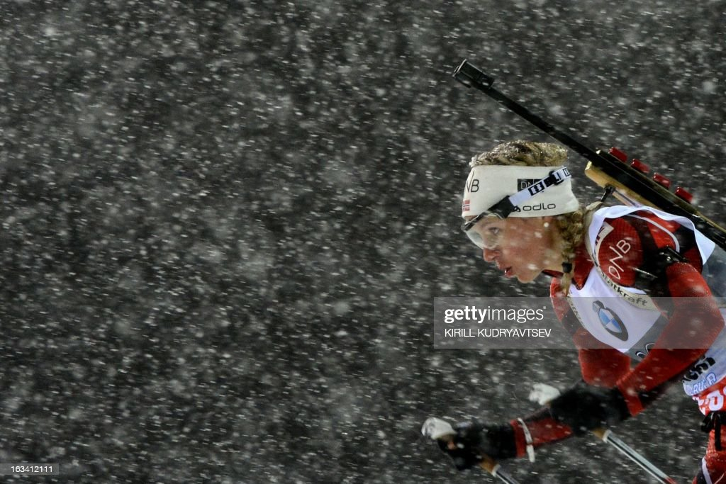 Norway's Tini Eckhoff competes in Women 7.5 km Sprint during IBU World Cup Biathlon at Laura Cross Country and Biathlon Centre in Sochi on March 9, 2013. Poland's Magdalena Gwizdon took the first place ahead of Slovakia's Anastasiya Kuzmina and Norway's Tora Berger. AFP PHOTO/KIRILL KUDRYAVTSEV