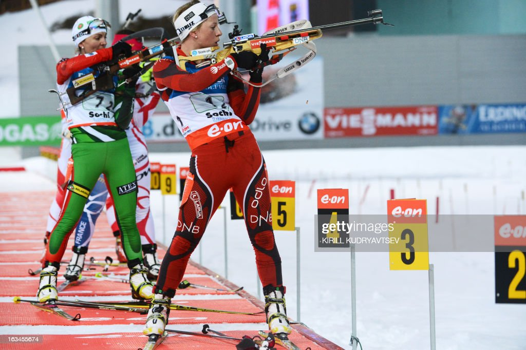 Norway's Tiril Eckhoff prepares to shoot during the Women's 4x6 km Relay of the IBU Biathlon World Cup at Laura Cross Country and Biathlon Center in the Russian Black Sea resort of Sochi on March 10, 2013. Germany took first place ahead of Ukraine and Norway. AFP PHOTO/KIRILL KUDRYAVTSEV