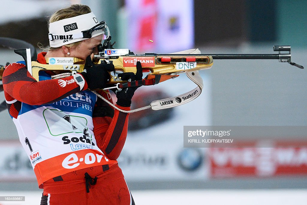 Norway's Tiril Eckhoff shoots during the Women's 4x6 km Relay of the IBU Biathlon World Cup at Laura Cross Country and Biathlon Center in the Russian Black Sea resort of Sochi on March 10, 2013. Germany took first place ahead of Ukraine and Norway. AFP PHOTO/KIRILL KUDRYAVTSEV