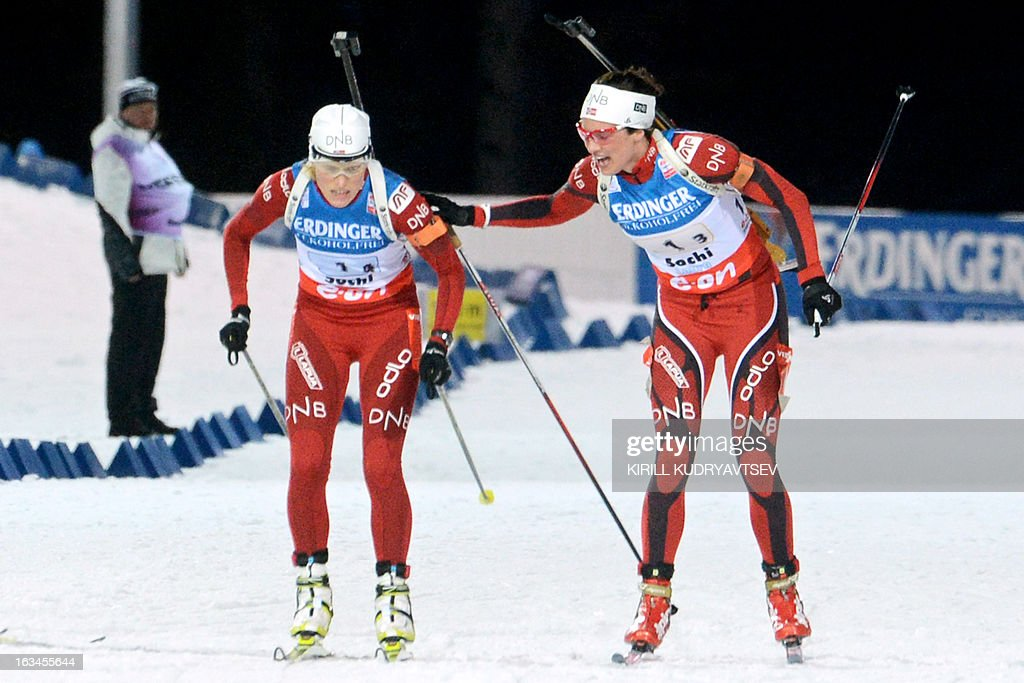 Norway's Tora Berger (L) and Ann Kristin Aafedt Flatland compete during the Women's 4x6 km Relay of the IBU Biathlon World Cup at Laura Cross Country and Biathlon Center in the Russian Black Sea resort of Sochi on March 10, 2013. Germany took first place ahead of Ukraine and Norway.