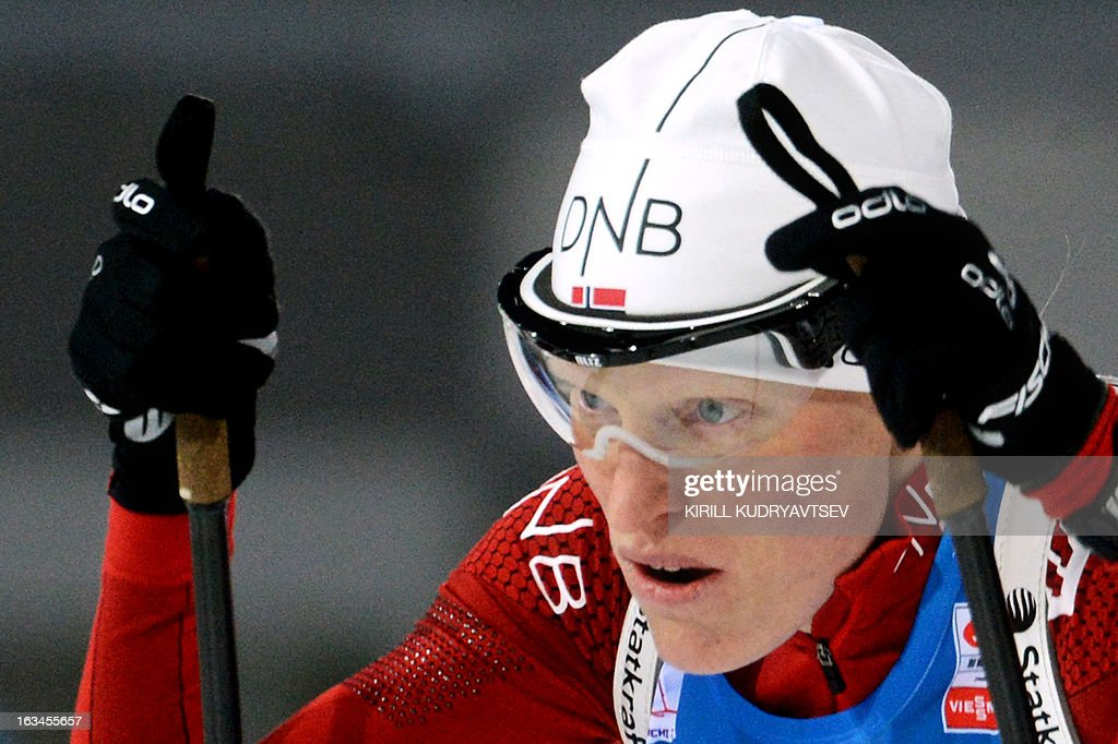 Norway's Tora Berger competes during the Women's 4x6 km Relay of the IBU Biathlon World Cup at Laura Cross Country and Biathlon Center in the Russian Black Sea resort of Sochi on March 10, 2013. Germany took first place ahead of Ukraine and Norway. AFP PHOTO/KIRILL KUDRYAVTSEV