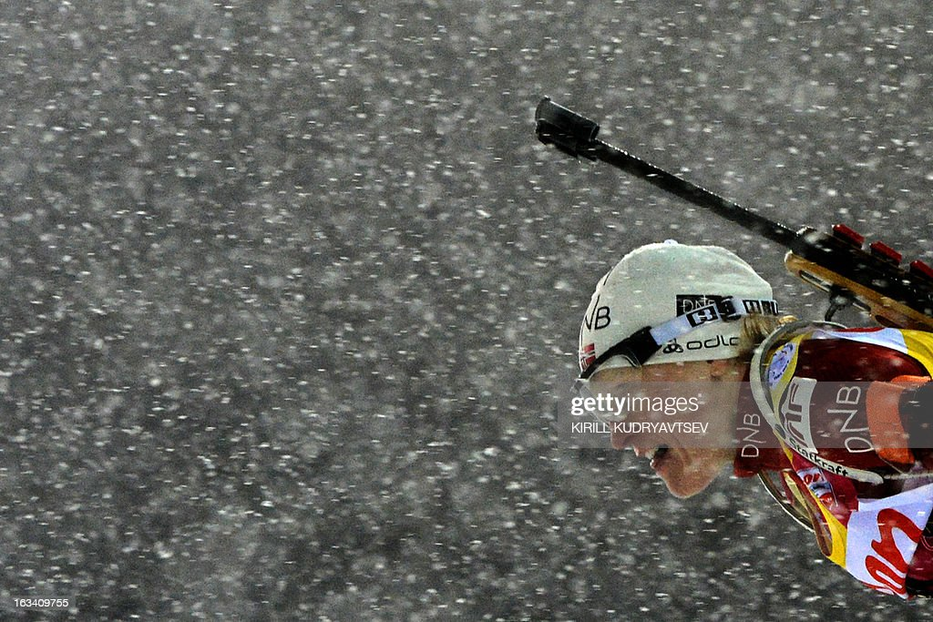Norway's Tora Berger competes in Women 7.5 km Sprint during IBU World Cup Biathlon at Laura Cross Country and Biathlon Centre in the Russian Black Sea resort of Sochi on March 9, 2013. Poland's Magdalena Gwizdon took the first place ahead of Slovakia's Anastasiya Kuzmina and Norway's Tora Berger.
