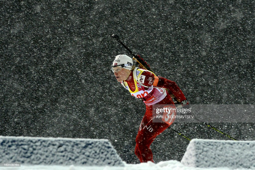 Norway's Tora Berger competes in Women 7.5 km Sprint during IBU World Cup Biathlon at Laura Cross Country and Biathlon Centre in the Russian Black Sea resort of Sochi on March 9, 2013. Poland's Magdalena Gwizdon took the first place ahead of Slovakia's Anastasiya Kuzmina and Berger.