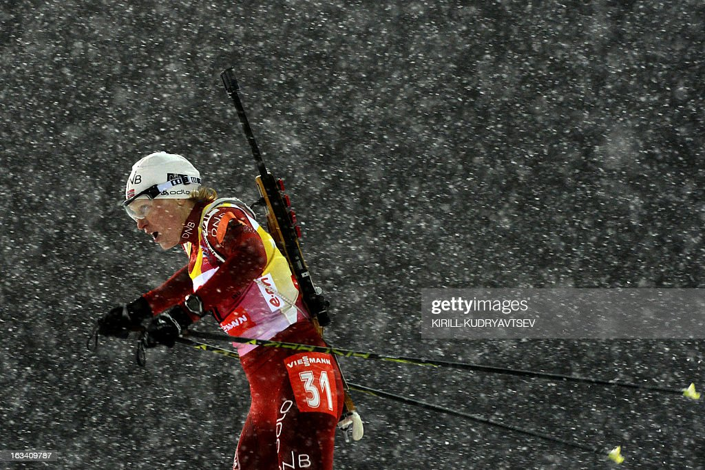 Norway's Tora Berger competes in Women 7.5 km Sprint during IBU World Cup Biathlon at Laura Cross Country and Biathlon Centre in the Russian Black Sea resort of Sochi on March 9, 2013. Poland's Magdalena Gwizdon took the first place ahead of Slovakia's Anastasiya Kuzmina and Berger. AFP PHOTO/KIRILL KUDRYAVTSEV
