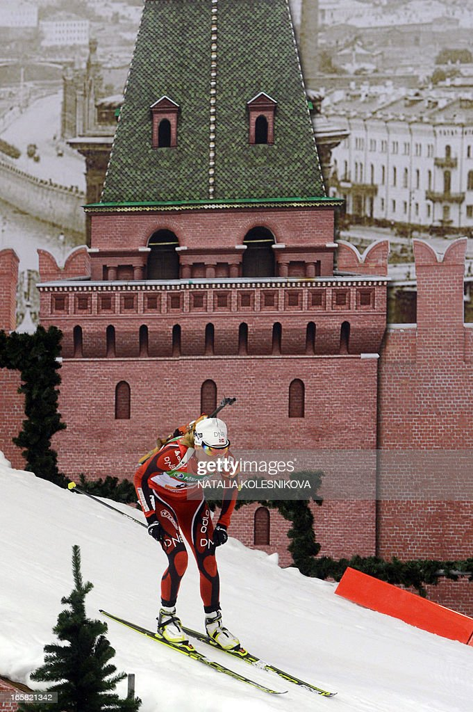 Norway's Tora Berger competes on April 6, 2013 in the women's biathlon mass start during the Champion's Race in Moscow .