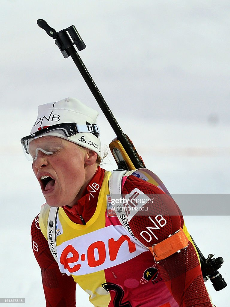Norway's Tora Berger reacts in the finish line after winning the women10 km pursuit as part of IBU Biathlon World Championships in Nove Mesto, Czech Republic, on February 10, 2013.