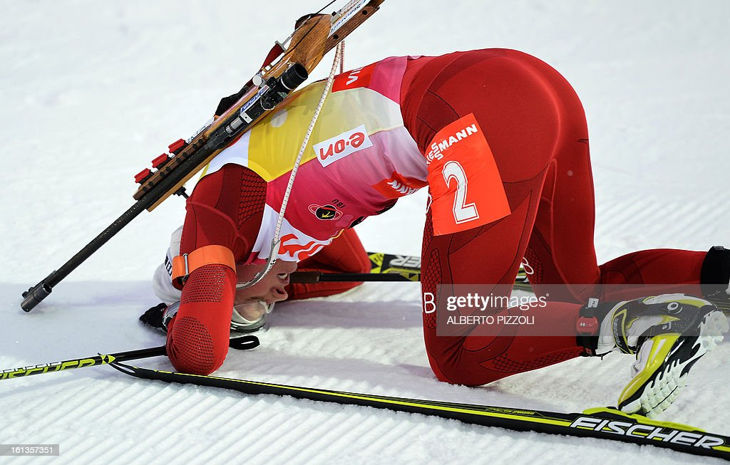 Norway's Tora Berger reacts in the finish line after winning the women10 km pursuit as part of IBU Biathlon World Championships in Nove Mesto, Czech Republic, on February 10, 2013. AFP PHOTO / ALBERTO PIZZOLI