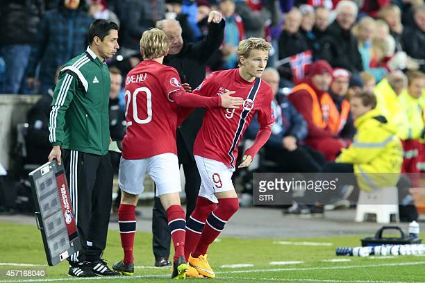 Norway´s youngest player ever Martin Oedegaard replaces Mats Moeller Daehli during the Euro 2016 Group H qualifying football match Norway vs Bulgaria...