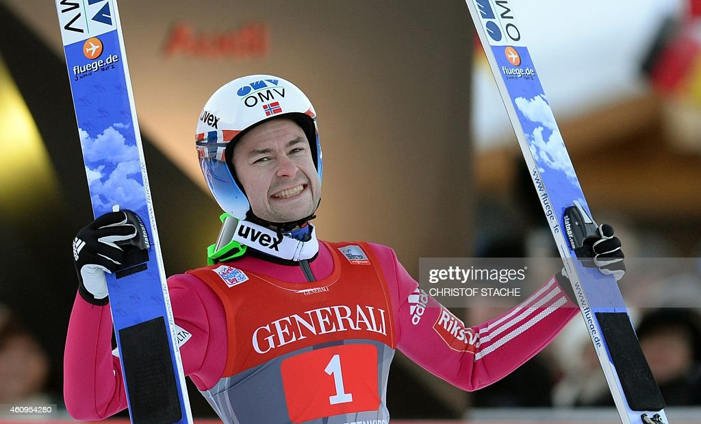 Norwegian <a gi-track='captionPersonalityLinkClicked' href=/galleries/search?phrase=Anders+Jacobsen+-+Ski+Jumper&family=editorial&specificpeople=12186216 ng-click='$event.stopPropagation()'>Anders Jacobsen</a> celebrates after his second competition jump of the second session of the Four-Hills Ski jumping tournament (Vierschanzentournee) in Garmisch-Partenkirchen, southern Germany on January 1, 2015. <a gi-track='captionPersonalityLinkClicked' href=/galleries/search?phrase=Anders+Jacobsen+-+Ski+Jumper&family=editorial&specificpeople=12186216 ng-click='$event.stopPropagation()'>Anders Jacobsen</a> won the competition, Swiss Simon Ammann placed second and Slovenian Peter Prevc placed thid. The second competition of the Four-Hills Ski jumping event takes place in Garmisch-Partenkirchen, before the tournament continues in Innsbruck (Austria) and in Bischofshofen (Austria).