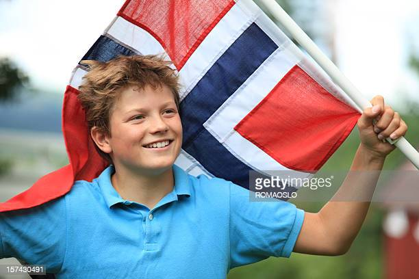Norwegian boy patriot with flag, Oslo Norway