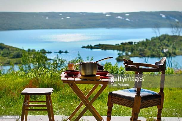 Norwegian breakfast at the Ustaoset Village in central Norway, Scandinavia, Europe