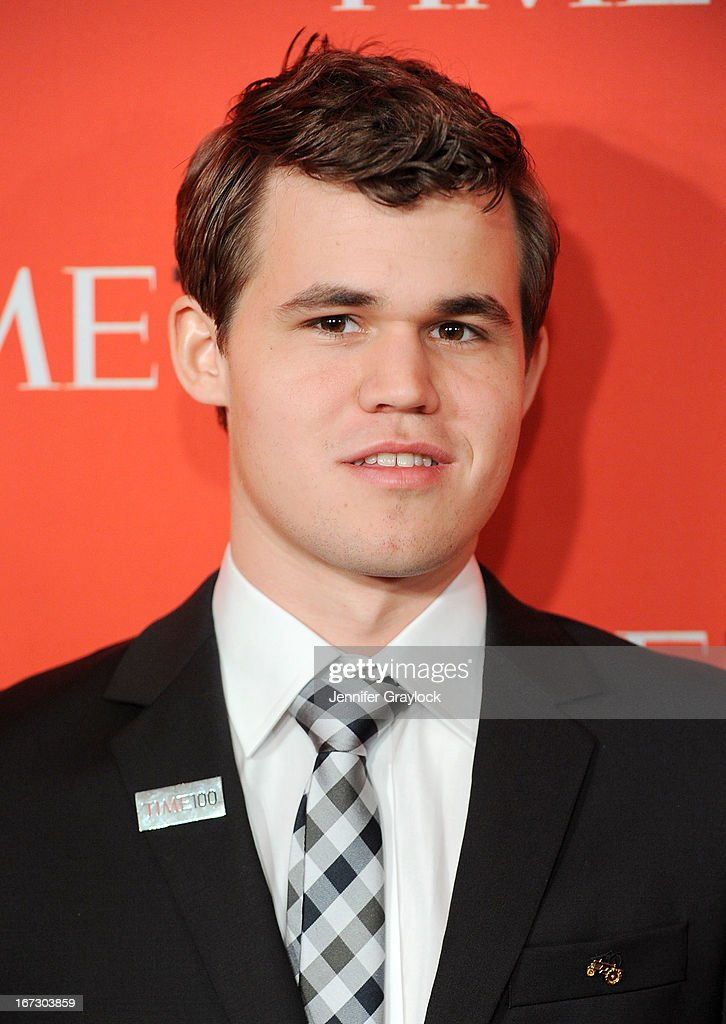 Norwegian chess grandmaster Magnus Carlsen attends the 2013 Time 100 Gala at Frederick P. Rose Hall, Jazz at Lincoln Center on April 23, 2013 in New York City.