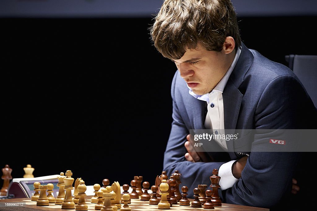 Norwegian chess player Magnus Carlsen is pictured during the last round of the tournament Norway Chess on May 18, 2013 in Stavanger. AFP PHOTO / Kent Skibstad /SCANPIX