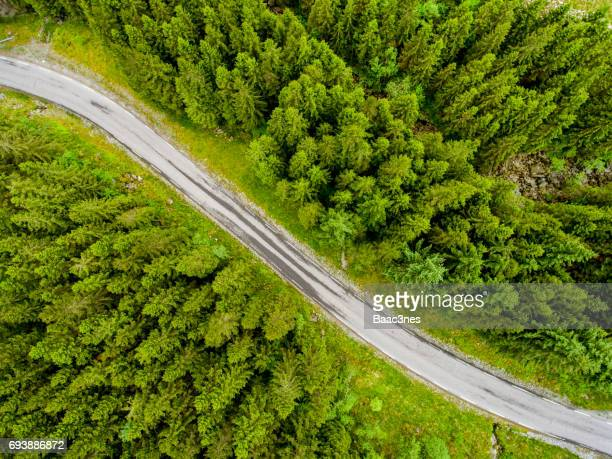 Norwegian country road seen from above