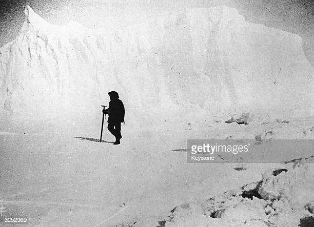 Norwegian explorer Captain Roald Amundsen the first man to reach the South Pole inspecting ice fields near a glacier in the Atlantic Ocean
