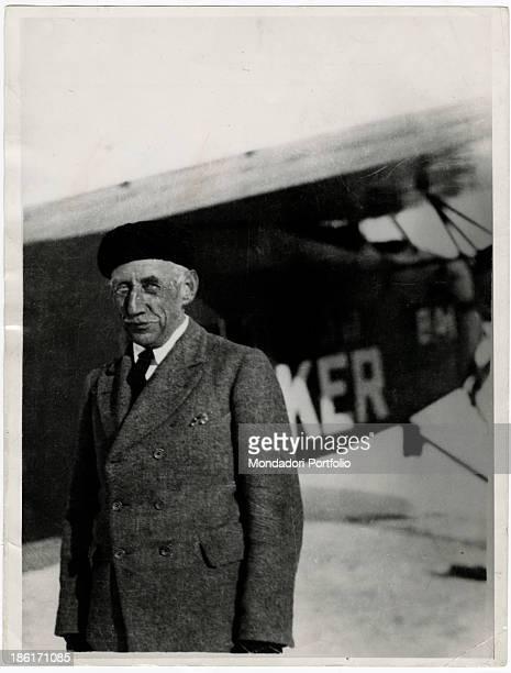 Norwegian explorer Roald Amundsen posing in front of a Fokker airplane 1920s