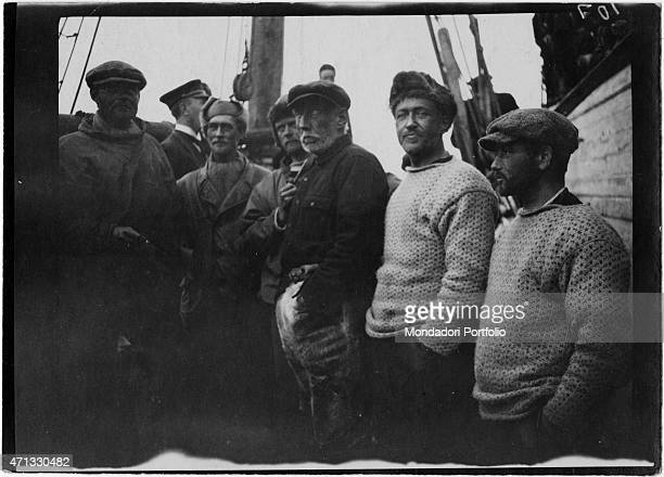 Norwegian explorer Roald Amundsen posing on the Gjoa vessel with his crew during his expedition in the Arctic Sea Arctic 1906