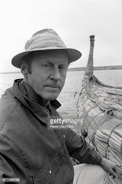 Norwegian explorer Thor Heyerdahl is pictured in Safi Morocco next to Ra II his papyrus reed raft used to cross the Atlantic Ocean His journey thus...