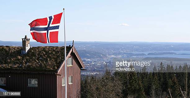 Norwegian flag and view of Oslo- Norway