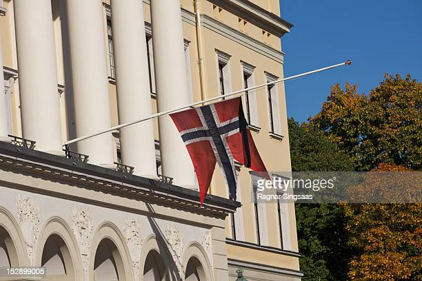 Norwegian flag flies at half mast at the Royal Palace during the funeral service of Her Highness Princess Ragnhild Mrs Lorentzen on September 28 2012...