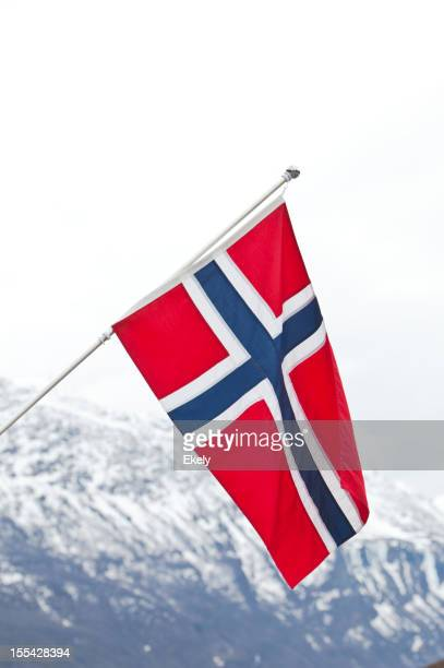 Norwegian flag in red white and blue.