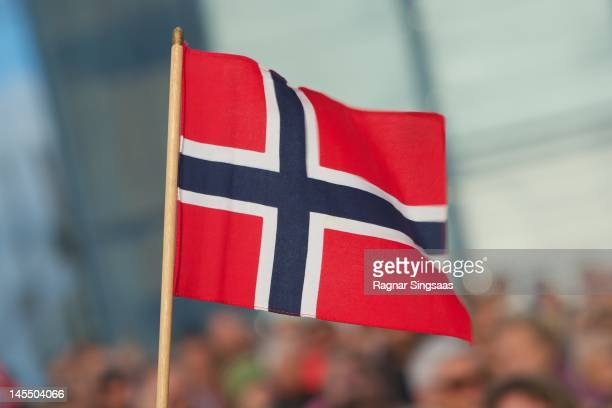 Norwegian flag is seen on the occasion of King Harald and Queen Sonja of Norway's 75th birthday celebration at Oslo Opera House on May 31 2012 in...
