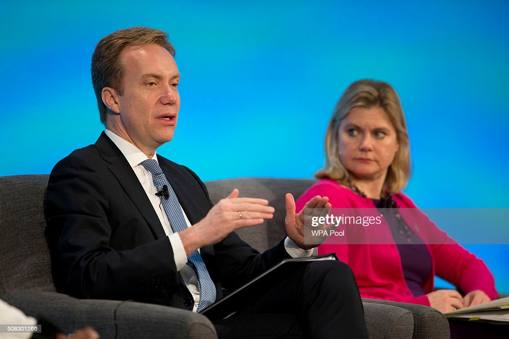 Norwegian Foreign Minister Borge Brende, left, speaks on stage flanked by British Secretary of State for International Development <a gi-track='captionPersonalityLinkClicked' href=/galleries/search?phrase=Justine+Greening&family=editorial&specificpeople=2466449 ng-click='$event.stopPropagation()'>Justine Greening</a> during the first focus event on education at the 'Supporting Syria Conference' at The Queen Elizabeth II Conference Centre on February 4, 2016 in London, England. World leaders including British Prime Minister David Cameron and German Chancellor Angela Merkel will gather for the 4th annual donor conference in an attempt to raise £6.2bn GBP to those affected by the war in Syria.
