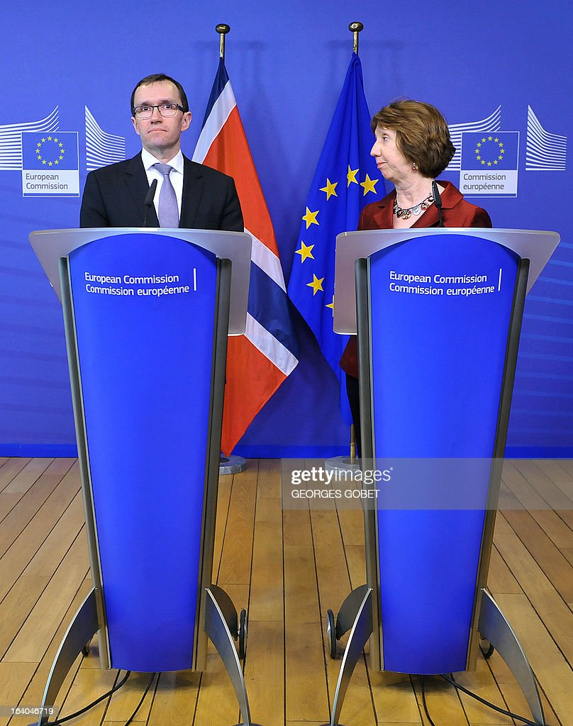 Norwegian Foreign Minister Espen Barth Eide (L) and High Representative of the European Union for Foreign Affairs and Security Policy Catherine Ashton (R) give a statement prior a meeting with Palestinian Prime Minister on March 19, 2013 at the EU Headquarters in Brussels. The meeting of the donor coordination group for the Palestinian people, the Ad Hoc Liaison Committee (AHLC) will focus on ways to address the deepening financial crisis of the PA, including strengthening its fiscal sustainability, improving the regularity and predictability of financial resources provided to the PA, increasing private sector-led growth, promoting access and movement throughout the Palestinian territory, facilitating Palestinian exports and improving the situation in the Gaza Strip .