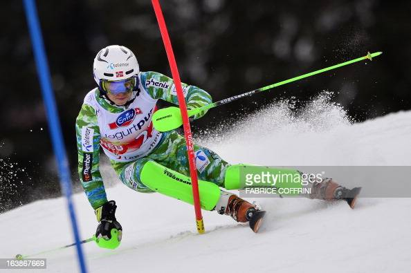 Norwegian Henrik Kristoffersen competes during the Men Slalom race at the Alpine ski World Cup finals on March 17 2013 in Lenzerheide AFP PHOTO /...