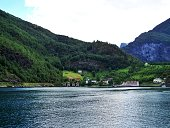 Norwegian houses nature landscape