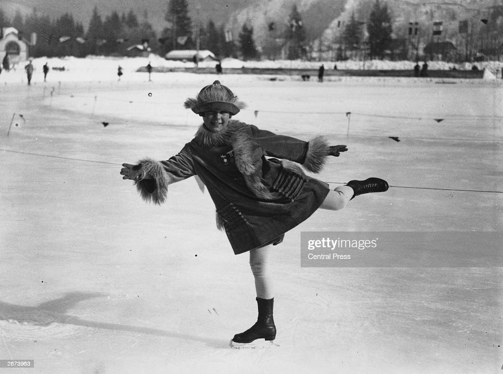 Norwegian iceskater Sonja Henie on the ice at Chamonix during the Winter Olympics