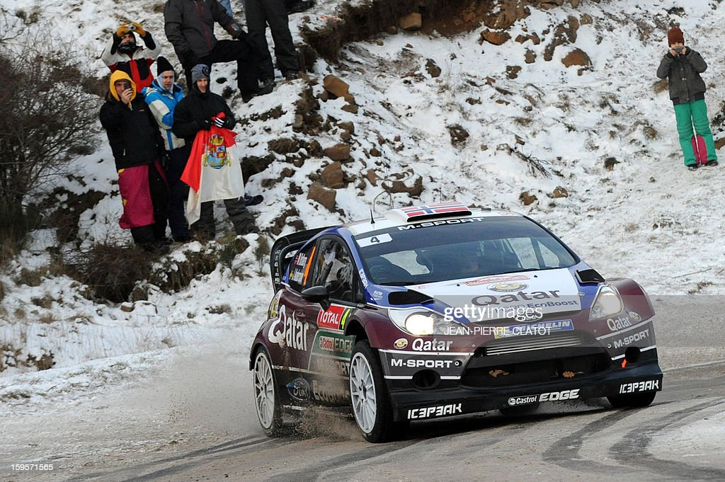 Norwegian Mads Otsberg drives a Ford Fiesta on January 16, 2013 in Col de la Fayolle, southeastern France, during the stage of the Monte-Carlo Rally between Le Moulinon and Antraigues. AFP PHOTO / Jean Pierre Clatot