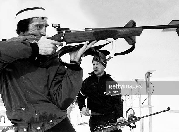 Norwegian Magnar Solberg shoots on targets during practice for the 20 km biathlon 02 February 1972 in Makomanai near Sapporo at the Winter Olympic...