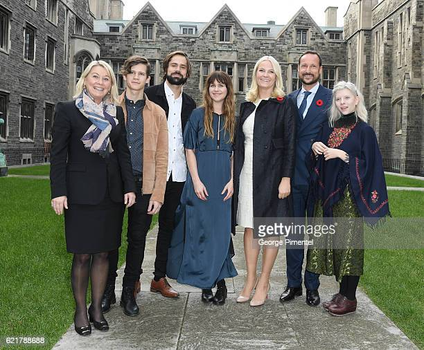 Norwegian Ministry of Trade Monica Maeland His Royal Highness Crown Prince Haakon Her Royal Highness Crown Princess MetteMarit pose with musicians...