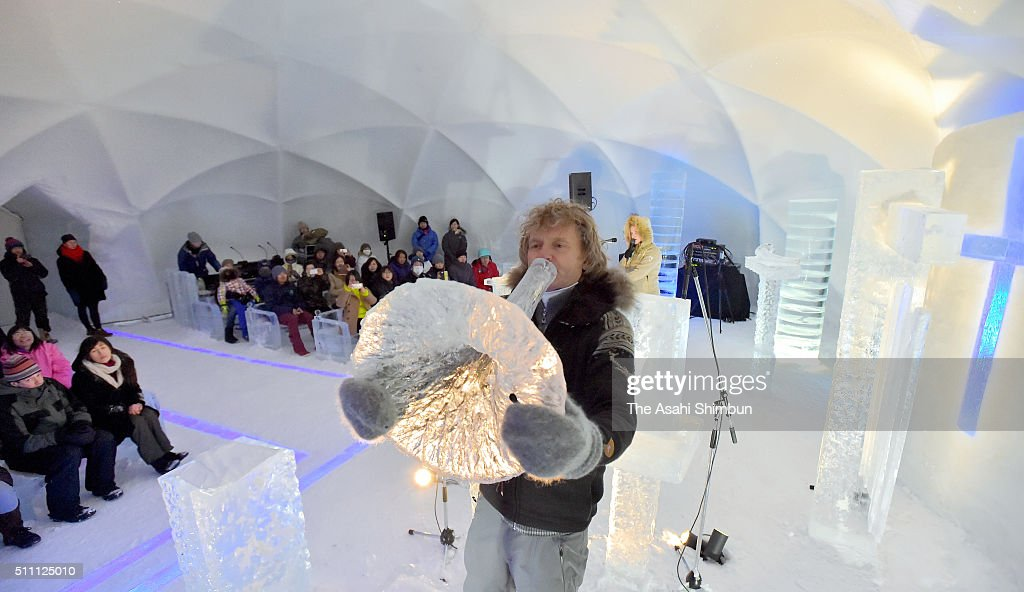 Norwegian musican Terje Isungset performs the Icehorn, music instrument made of ice during the 'Concert of Ice' at the Hoshino Resort Tomamu on February 17, 2016 in Shimukappu, Hokkaido, Japan.