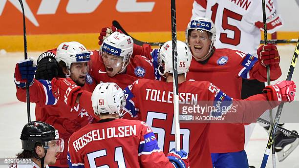 Norwegian players celebrate their goal during the group A preliminary round game Norway vs Switzerland at the 2016 IIHF Ice Hockey World Championship...