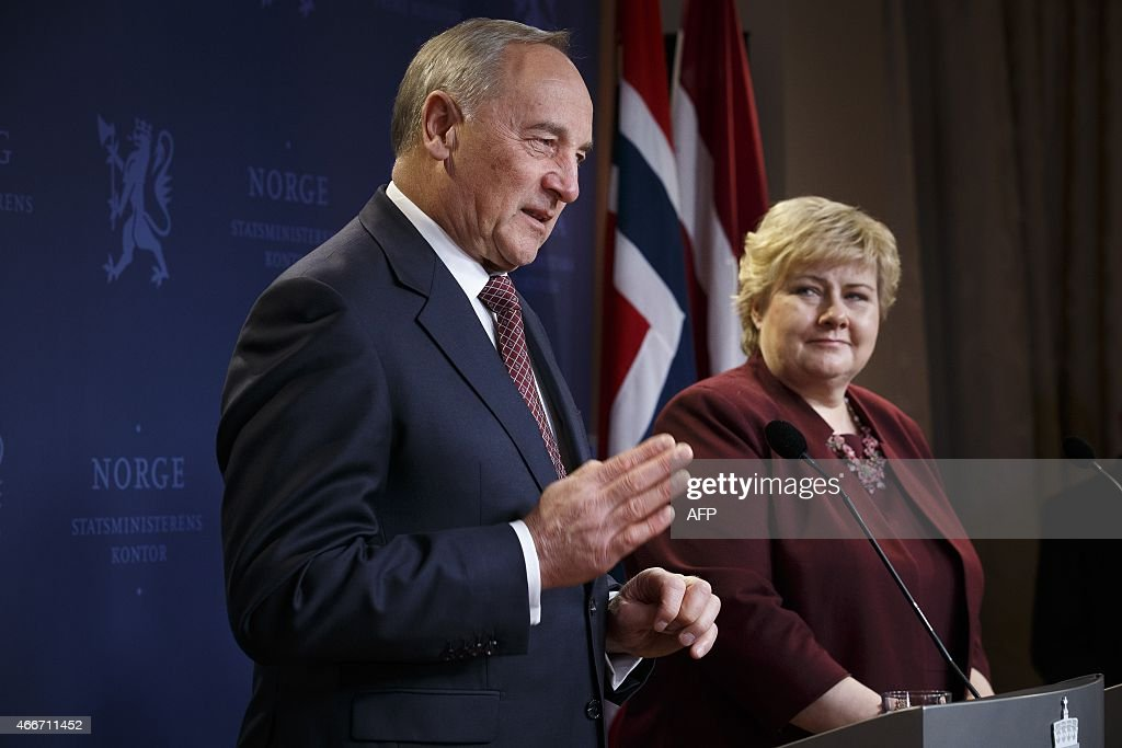 Norwegian Prime Minister <a gi-track='captionPersonalityLinkClicked' href=/galleries/search?phrase=Erna+Solberg&family=editorial&specificpeople=6165203 ng-click='$event.stopPropagation()'>Erna Solberg</a> (R) and Latvian President Andris Berzins (2L) address a joint press conference after talks in Oslo, on March 18, 2015. AFP PHOTO / NTB scanpix / JUNGE, HEIKO NORWAY OUT