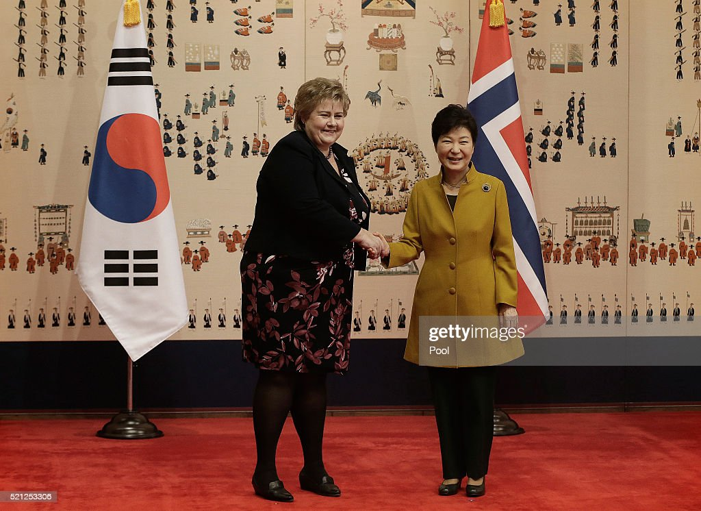 Norwegian Prime Minister <a gi-track='captionPersonalityLinkClicked' href=/galleries/search?phrase=Erna+Solberg&family=editorial&specificpeople=6165203 ng-click='$event.stopPropagation()'>Erna Solberg</a> shakes hands with South Korean President Park Geun-Hye during a meeting at the presidential house on April 15, 2016 in Seoul, South Korea. She met with her South Korean counterpart to discuss economic exchanges and to strengthen bilateral relationships in trade, culture and diplomacy.