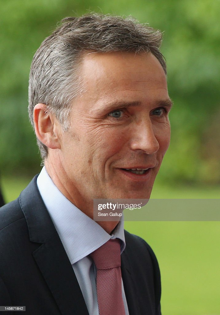 Norwegian Prime Minister <a gi-track='captionPersonalityLinkClicked' href=/galleries/search?phrase=Jens+Stoltenberg&family=editorial&specificpeople=558620 ng-click='$event.stopPropagation()'>Jens Stoltenberg</a> arrives at the Chancellery to meet with German Chancellor Angela Merkel on June 7, 2012 in Berlin, Germany. The two leaders, along with British Prime Minister David Cameron, are scheduled to participate in a televised meeting of 100 students about the future of Germany. Merkel and Cameron are likely to also discuss the current European debt crisis.